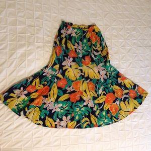 Vintage tropical midi skirt